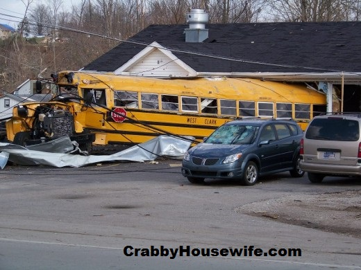 bus in building henryville