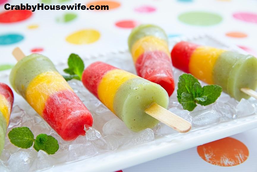 Lite Yogurt Rainbow Fruit Popsicles