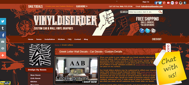 screenshot of vinyl disorder website