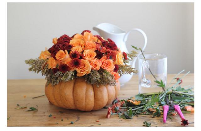 roses in pumpkin