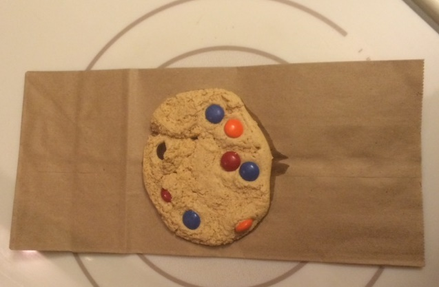 protein cookie on paper bag