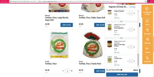 screenshot of wegmans shopping list for under $50 for the week. Shows flour tortilla choices on the left and on the right is the cart with the total listed for the items chosen.
