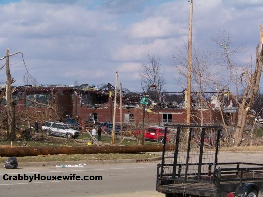 Henryville school from a distance after tornado.