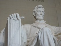 Abraham Lincoln Statue in Washington DC is a reminder of the Abraham Lincoln bicentinnial tour that occurred recently.