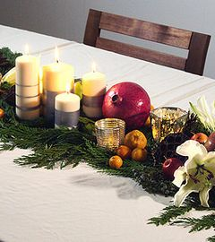 Create Christmas Table Runners with Greenery and Ornaments