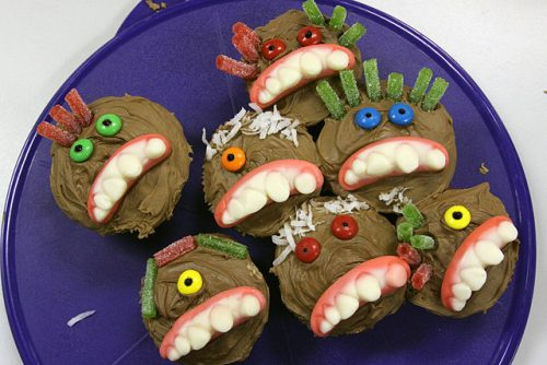 Fun monster cupcakes for a special Halloween treat.
