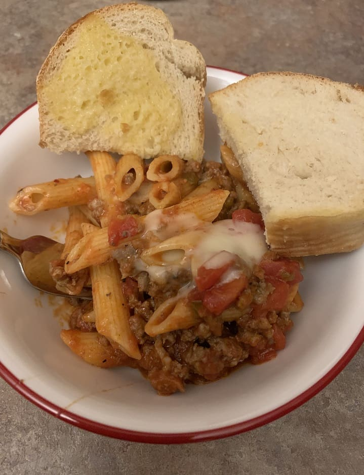 Easy penne skillet pasta with hamburger and sausage.