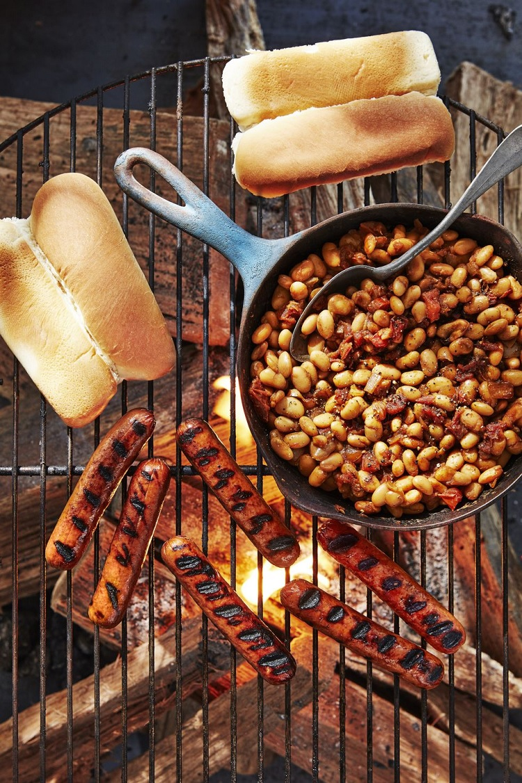 hot dogs and cast iron beans