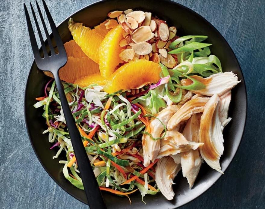 orange almond chicken and cabbage bowls