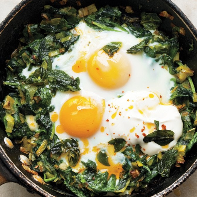 cheap egg dish recipe of skillet baked eggs with spinach